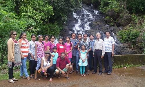 GBE members along with friends and family at the Apeval Waterfall in Ponda